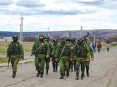 Russian soldiers marching — Foto de Stock