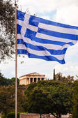 Greek flag and Temple of Hephaestus in Athens, Greece — Stock Photo