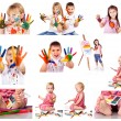 Collection of photos of kids painting with colors — Stock Photo