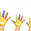 Family concept. Three colorful hands with smiling face of family - mother, father and baby. Small, medium and large hand. Symbol unity, growth, ready for your logo. Isolated on white background — Stock Photo #19298337