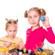 Stock Photo: Two happy kids painting easter eggs. Happy Easter