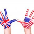 Постер, плакат: American and English flags on hands