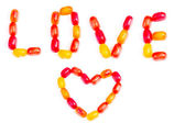 Nota di amore caramelle di gelatina colorata — Foto Stock