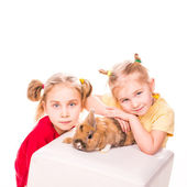 Two happy kids with easter bunny. Happy Easter — Stock Photo
