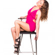 Beautiful sexy woman dancing with bar chair — Stock Photo #21380953