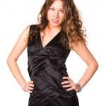 Beautiful businesswoman wearing elegant black dress isolated on white background — Stock Photo #21456109