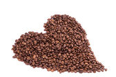 Coffee beans in a form of heart. Coffee break concept. — Stock Photo
