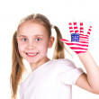 American and English flags on child's hands. — Stock Photo #22287549