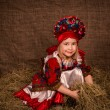 Beautiful little girl in national costume — Stock Photo