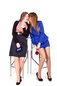 Two business girls having coffee break — Stock Photo