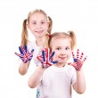 American and English flags on child's hands. — Stock Photo #23061854