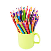 Color pencils in an office stand — Stock Photo