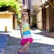 Stock Photo: Beautiful little girl in ancient street of Nesebar