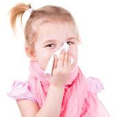 Chory dziewczynka z ospa wietrzna z serwetka — Zdjęcie stockowe