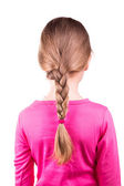 Portrait of a beautiful little girl with long hair in a braid. Hair care concept. — Stock Photo
