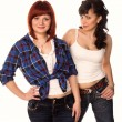 Two young beautiful casual girls wearing jeans smiling — Stock Photo #23915075
