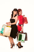 Beautiful happy girls with many shopping bags. Shopping concept. — Stock Photo