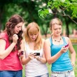 Group Of happy smiling Teenage Students outdoor — Stock Photo #25590933