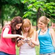 Group Of happy smiling Teenage Students outdoor — Stock Photo #25592675