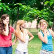 Group Of happy smiling Teenage Students outdoor — Stock Photo #25593917