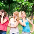 Group Of happy smiling Teenage Students outdoor — Stock Photo #25594133