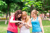 Group Of happy smiling Teenage Students outdoor — Stock Photo