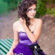 Beautiful young girl in a beautiful dress outdoor — Stock Photo