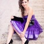 Beautiful young girl in a beautiful dress outdoor — Stock Photo #26439621