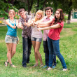 Group of happy smiling Teenage Students — Stock Photo