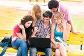 Gruppo di studenti adolescenti sorridenti felici — Foto Stock