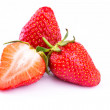 Fresh strawberries isolated on white background. — Stock Photo