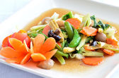 Sauted mixed vegetables in oyster sauce — Stock Photo