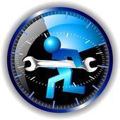 24-uurs onderhoud logo — Stockvector
