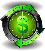 Przycisk Dolar — Wektor stockowy