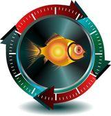 кнопка рыбы — Cтоковый вектор