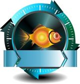 Fish button — Stock Vector