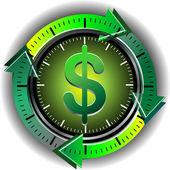 Button dollar — Stock Vector