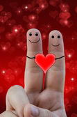 Happy fingers in love — Stock Photo