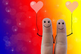 Happy fingers in love — 图库照片