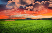 Thunderstorm with lightning — Stock Photo