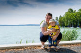 Woman with son at Balaton lake — Stok fotoğraf