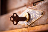 The old key in rust box — Stock Photo
