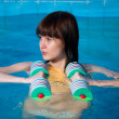 Pretty girl doing aqua aerobic exercise — Stock Photo #12436583