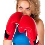 Постер, плакат: Pretty girl with boxing gloves