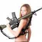 Woman with gun on white — Stock Photo