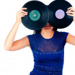 Pretty girl holding 2 vinyl disc — Stock Photo
