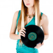 Pretty girl holding vinyl disc — Stock Photo