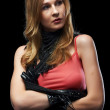 The beautiful girl with black gloves — Stock Photo