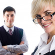 Young and smiling Business woman in an office — Stock Photo