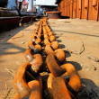 Barge and chains — Stock Photo